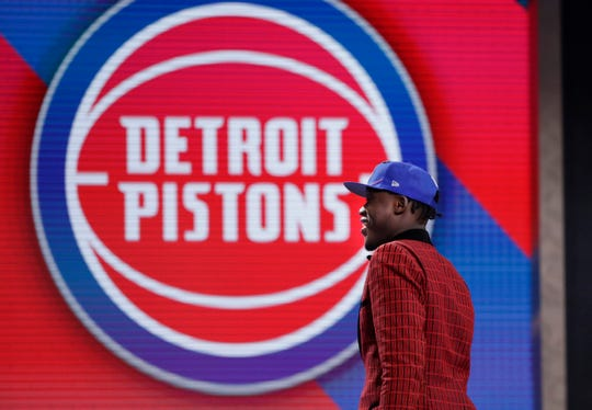 Sekou Doumbouya walks onstage after being drafted by the Detroit Pistons on Thursday, June 20, 2019.