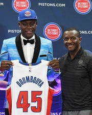 Pistons first round pick Sekou Doumbouya and Pistons head coach Dwane Casey during the press conference.
