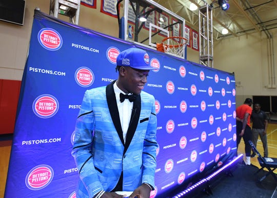 Pistons first-round draft pick Sekou Doubouya meets reporters Friday in Auburn Hills.