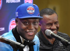 Pistons first-round draft pick Sekou Doumbouya, with head coach Dwane Casey, was introduced on Friday.