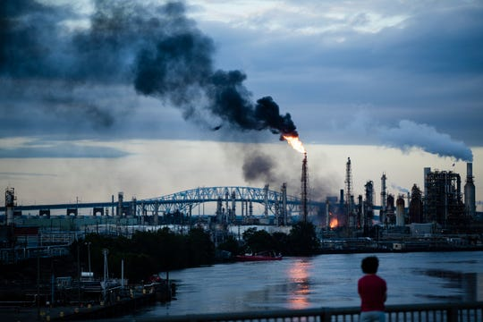 Flames and smoke emerge from the Philadelphia Energy Solutions Refining Complex.