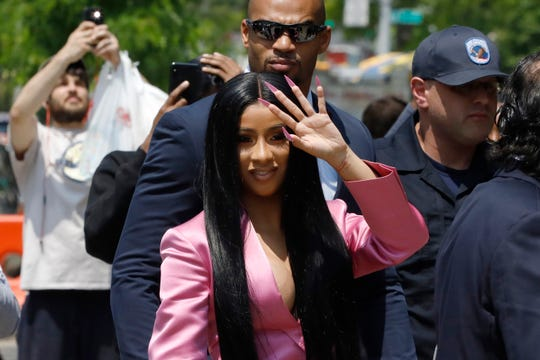 Cardi B arriving at Queens Criminal Court, in New York. The Grammy-winning rapper has been indicted on new felony charges in connection with a fight at a New York City strip club.