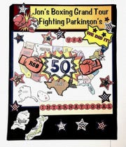 A map of all 50 states to record Jon Pawelkop's progress visiting Rock Steady Boxing classes.