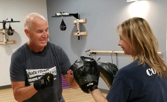 Jon Pawelkop trains during a Rock Steady Boxing class.