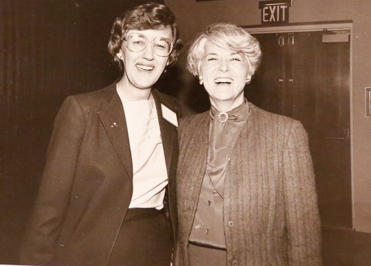 Judy Goldsmith of Fond du Lac, then president of the National Organization for Women (NOW), poses with vice presidential candidate Geraldine Ferraro in 1984.