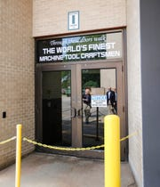 The entrance to Fives Giddings & Lewis June 20, 2019 at the company's open house in Fond du Lac, Wis.