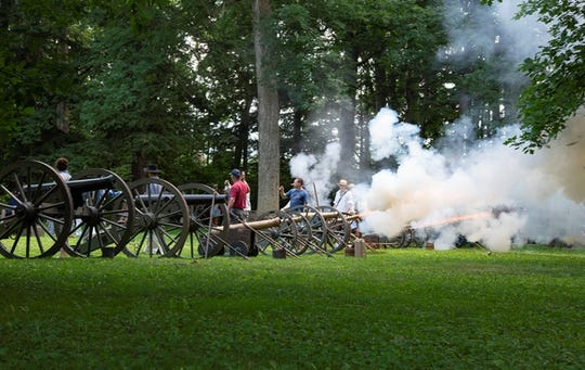 "Cannon fire punctuates the ""1812 Overture"" during the annual Independence Day Concert at the Hayes Presidential Library & Museums. This year, the concert takes place on Thursday, July 4."
