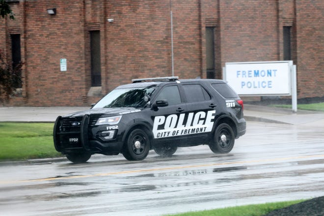 Fremont Police cruiser leaves station to patrol. The city has seen an uptick in speeding tickets written from 2018 to 2019.