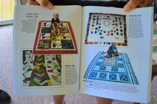 The book highlights many of the different quilts the ladies have made, including the quilts shown here.