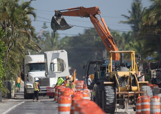 Construction on Estero Boulevard on Fort Myers Beach continues on Friday June, 21, 2019.
