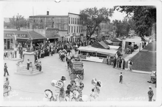 A photo of activities on the 1400 Block of Front Street in Fort Benton during Steam Boat Days in late June of 1937.
