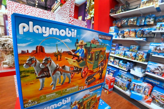 Playmobil is sold at Kits & Kaboodle in Carmel, Friday, June 21, 2019.   The company that makes this toy is German.  President Donald Trump's latest proposed tariffs on Chinese goods includes toys.  China makes 80% of toys sold in the U.S., according to the U.S. Department of Commerce.  Kits & Kaboodle sells many European-designed products from European companies, but many are made in China.  So the tariffs have this store doing early inventory and preparation for this year's holiday rush.