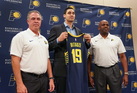 Indiana Pacers general manager Kevin Pritchard and head coach Nate McMillan introduced their NBA first round draft pick Goga Bitadze on Friday, June 21, 2019.