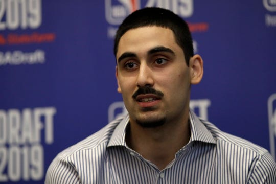 Goga Bitadze, from the Republic of Georgia, attends the NBA Draft basketball media availability, Wednesday, June 19, 2019, in New York. The draft will be held Thursday, June 20.