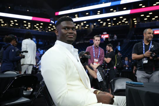 Jun 20, 2019; Brooklyn, NY, USA; Zion Williamson (Duke) looks prior to the start of the 2019 NBA draft at Barclays Center. Mandatory Credit: Brad Penner-USA TODAY Sports