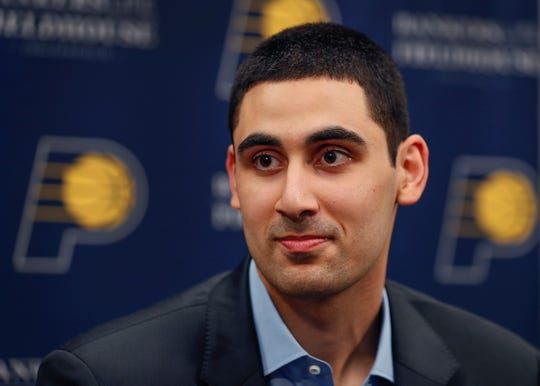 Indiana Pacers NBA first round draft pick Goga Bitadze talks to the media at Bankers Life Fieldhouse on Friday, June 21, 2019.