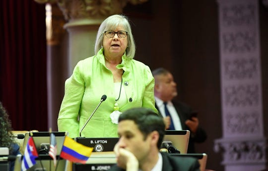 Assemblywoman Barbara Lifton, D-Ithaca, speaks May 22  in the Assembly Chamber at the state Capitol in Albany.