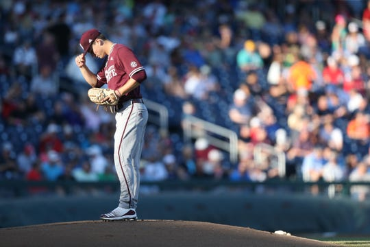Mississippi State freshman JT Ginn pitched 6.0 scoreless innings in the Bulldogs' College World Series elimination game against Louisville on Thursday.