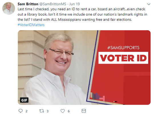 Secretary of state candidate Sam Britton on social media called for a voter ID law this week.