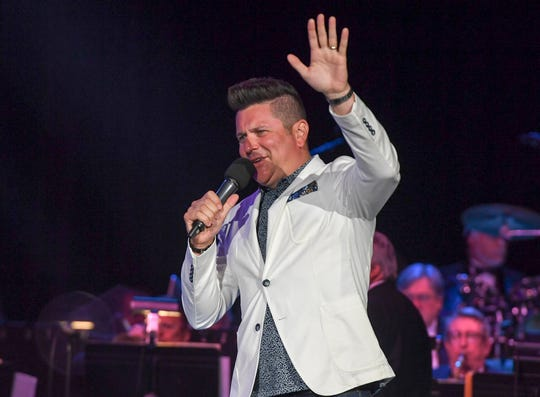 Jay Demarcus interacts with the fans while hosting the Miss Tennessee Volunteer Scholarship Pageant at the Carl Perkins Civic Center.