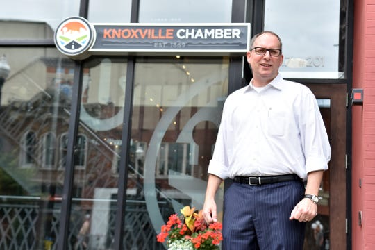 Mike Odom, president and CEO of the Knoxville Chamber of Commerce, poses for a photo outside the Chamber office on Market Square on June 7, 2019.