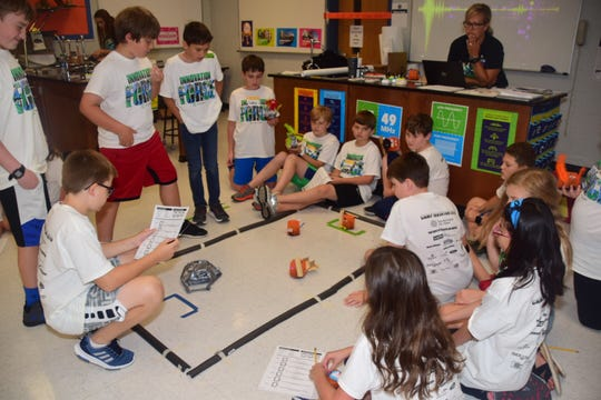 "Students in the DIY Orbot class research how to make their robot ""dance"" from one end of the rectangle to the other during the Robot class of Camp Invention ""Supercharged"" held at Grace Christian Academy Wednesday, June 19, 2019."