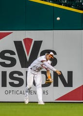 Brighton's Jack Krause makes a throw from the outfield during the East-West All-Star Classic at Comerica Park on Thursday, June 20, 2019.