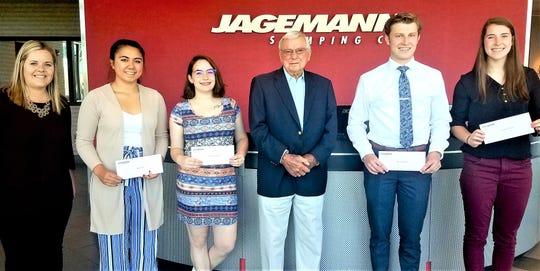 2019 William P. Jagemann Scholarship Award winners, from left: Allissa Waniger, Human Resources; Dakota Graff, Andrea Lagerstrom, William T. Jagemann, Alec Schermetzler and Courtney Binversie.