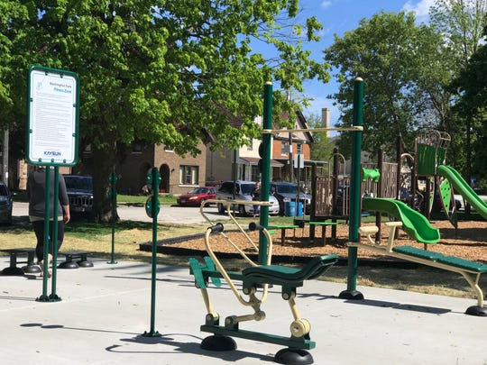 New workout equipment was recently installed in Washington Park's new Fitness Zone. New playground equipment was also recently added to the downtown Manitowoc park.