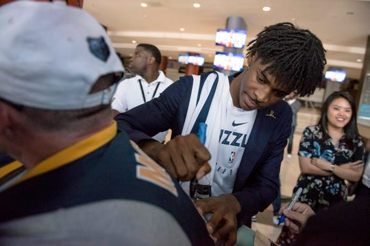 June 21, 2019 - Memphis Grizzlies guard Ja Morant signs autographs after a press conference at FedExForum. The Grizzlies chose Morant with the second overall pick in the 2019 NBA Draft.