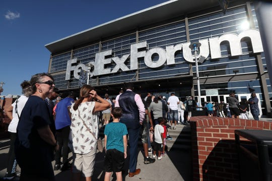 Fans line up outside the FedExForum for an NBA Draft night with the Memphis Grizzlies downtown on Thursday, June 20, 2019.