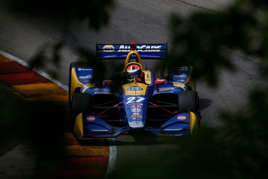Alexander Rossi pushes his car through Turn 12 during practice for last year's IndyCar race at Road America.