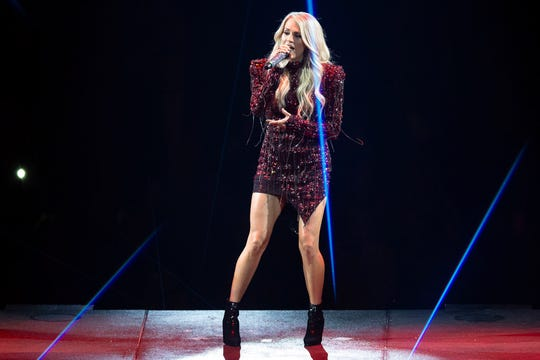 Carrie Underwood performs at Fiserv Forum in Milwaukee on Thursday.
