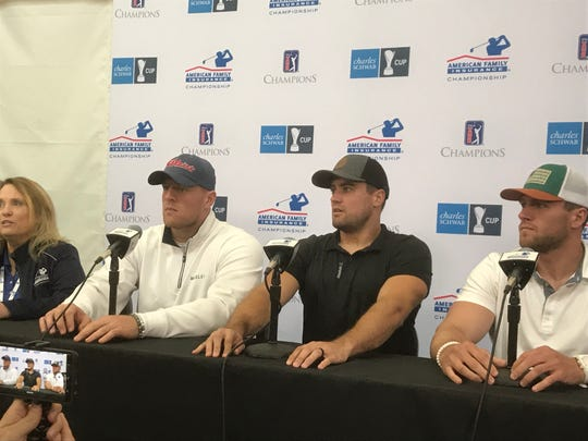 From left, University of Wisconsin alumni and current NFL players J.J. Watt, Derek Watt and T.J. Watt met the media at the American Family Insurance Championship on June 21 in Madison.