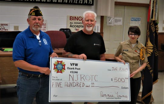 VFW Post 3246 Commander Ronnie Young recently presented a donation of $500 to the NJROTC for their assistance in this years VFW Poppy Drive. The VFW is grateful for their assistance the funds raised enable unfortunate veterans in their time of need. Pictured are: (from left) Commander Ronnie Young,  NJROTC Commander Bud Zorman and Operations Officer Cadet Greetham. The NJROTC has a long history of assisting in worthy events; they learn personal discipline and enjoy teamwork and camaraderie with other cadets and the public. For information on NJROTC, contact Zorman at (870) 425-1215.