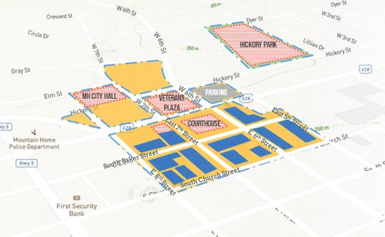 This map shows the boundaries of Mountain Home's downtown entertainment district, which will run from Hickory Street to Church Street and from 5th Street to 8th Street. The areas in yellow are where district patrons could consume alcoholic beverages in public, while the red areas are locations that would be excluded from the district.