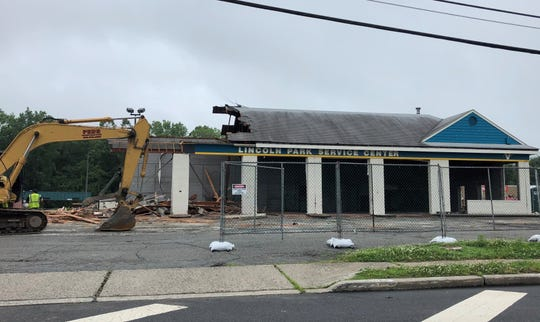 Gas station service center at Comly Road was demolished last week to make room for a shopping center.