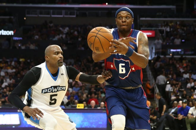 Bonzi Wells looks to pass during the 2017 season of the BIG3 three on three basketball league at Staples Center in Los Angeles, California.