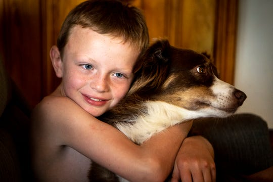 Abel Sewell, 6, who recently completed treatment for leukemia, hugs his dog Charlie at their home Monday, June 17, 2019, in Chattanooga, Tenn. Abel is one of at least 220,000 Tennessee children who lost or were slated to lose state insurance due to lacking paperwork in recent years.