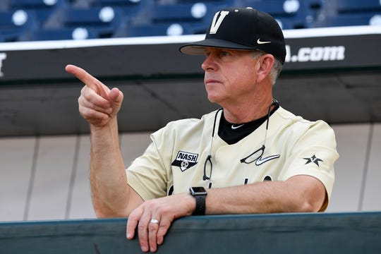 Vanderbilt head coach Tim Corbin before the 2019 NCAA Men's College World Series game against Louisville at TD Ameritrade Park  Friday, June 21, 2019, in Omaha, Neb.