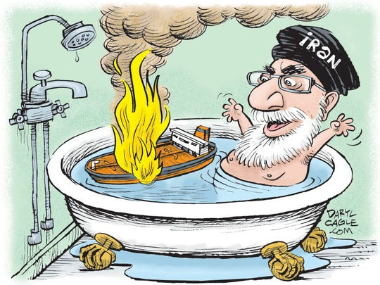 Iranian leader burns ship in tub.