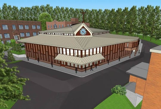 An artist's rendering of a new chapel, proposed for construction at the campus of Mary Help of Christians Academy in North Haledon.