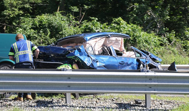 One of the vehicles involved in a motor vehicle accident on Route 80 eastbound by Exit 30 in Mount Arlington in the afternoon of June 21, 2019..