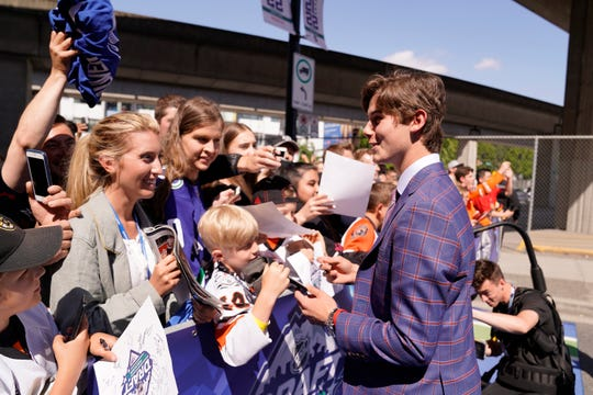 Top Prospect Jack Hughes arrives prior to the first round of the 2019 NHL Draft at Rogers Arena on June 21, 2019 in Vancouver, Canada.