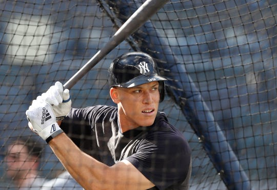 New York Yankees' Aaron Judge takes batting practice before a baseball game against the Houston Astros, Friday, June 21, 2019, in New York.