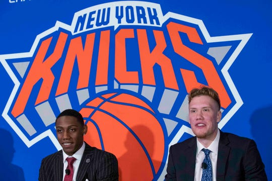 New York Knicks NBA basketball draft picks RJ Barrett, left, and Ignas Brazdeikis speak to reporters during a news conference, Friday, June 21, 2019, at Madison Square Garden in New York.