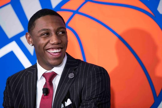 New York Knicks NBA basketball draft pick RJ Barrett speaks to reporters during a news conference, Friday, June 21, 2019, at Madison Square Garden in New York.