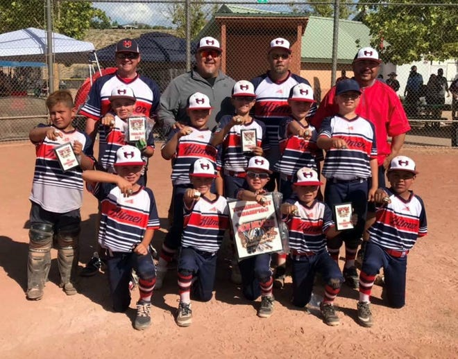 The Carlsbad Hitmen pose after winning the 9U AA title. They went undefeated in a seven-team field during the USSSA New Mexico State Baseball Tournament in Rio Rancho June 7-9 to claim the title. The Hitmen are coached by Rick Quintela, Danny Rodriguez, Matt Mathis and Keith Murray.
