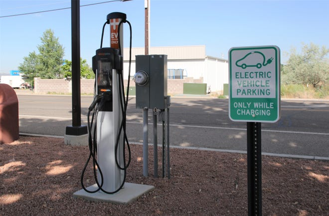 The City of Farmington is considering installing several electric vehicle charging stations like this one pictured, Friday, June 21, 2019, near City Hall in Aztec.