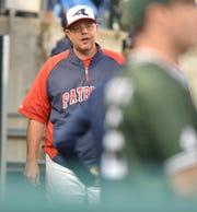 Livonia Franklin coach Matt Fournier prowls the dugout at the MHSAA All Star game.